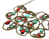 Delightful and joyful necklace made with red and turquoise picasso czech glass beads - BBTAR
