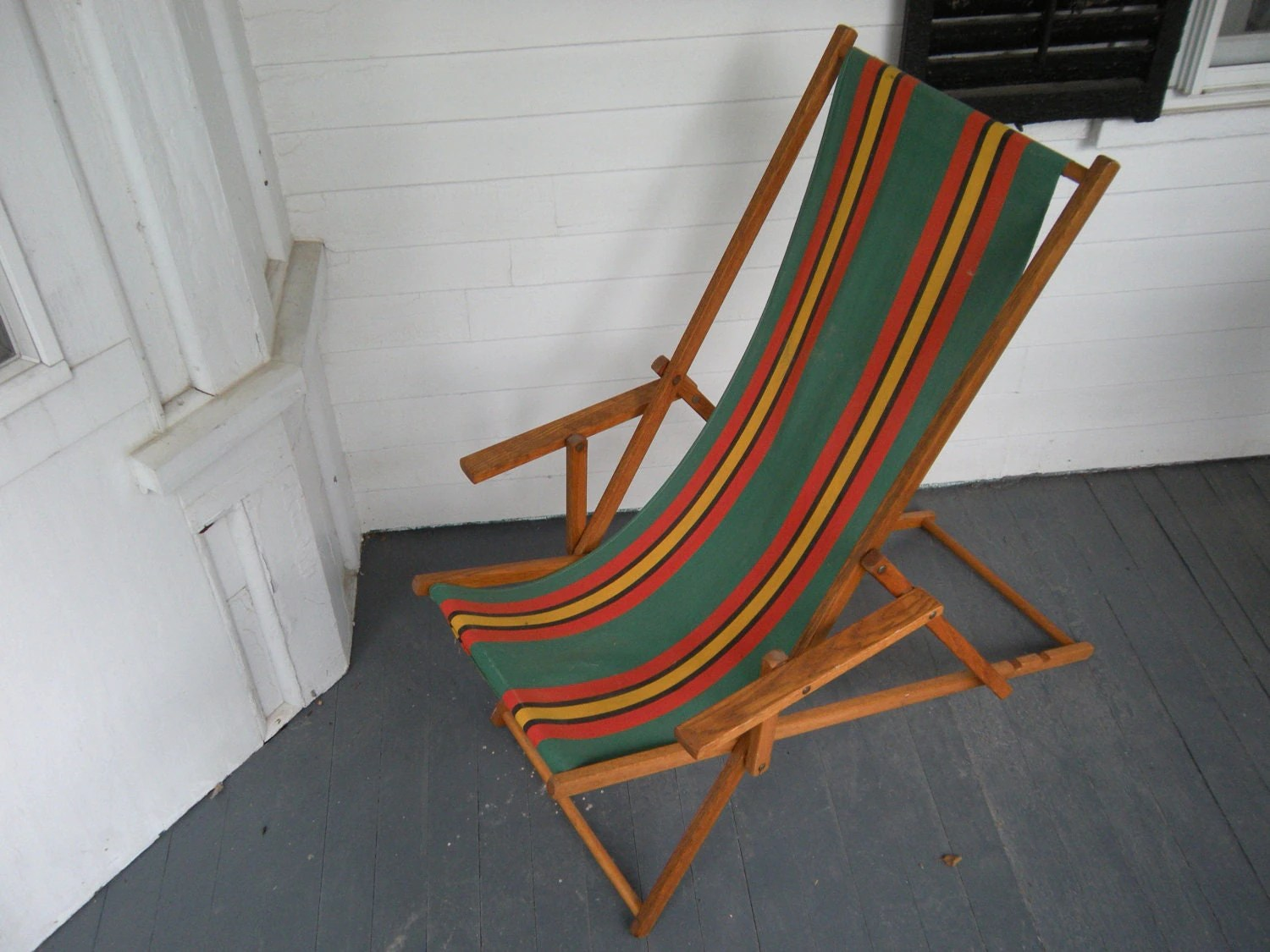 antique beach chair gym results vintage wood deck canvas sling back by