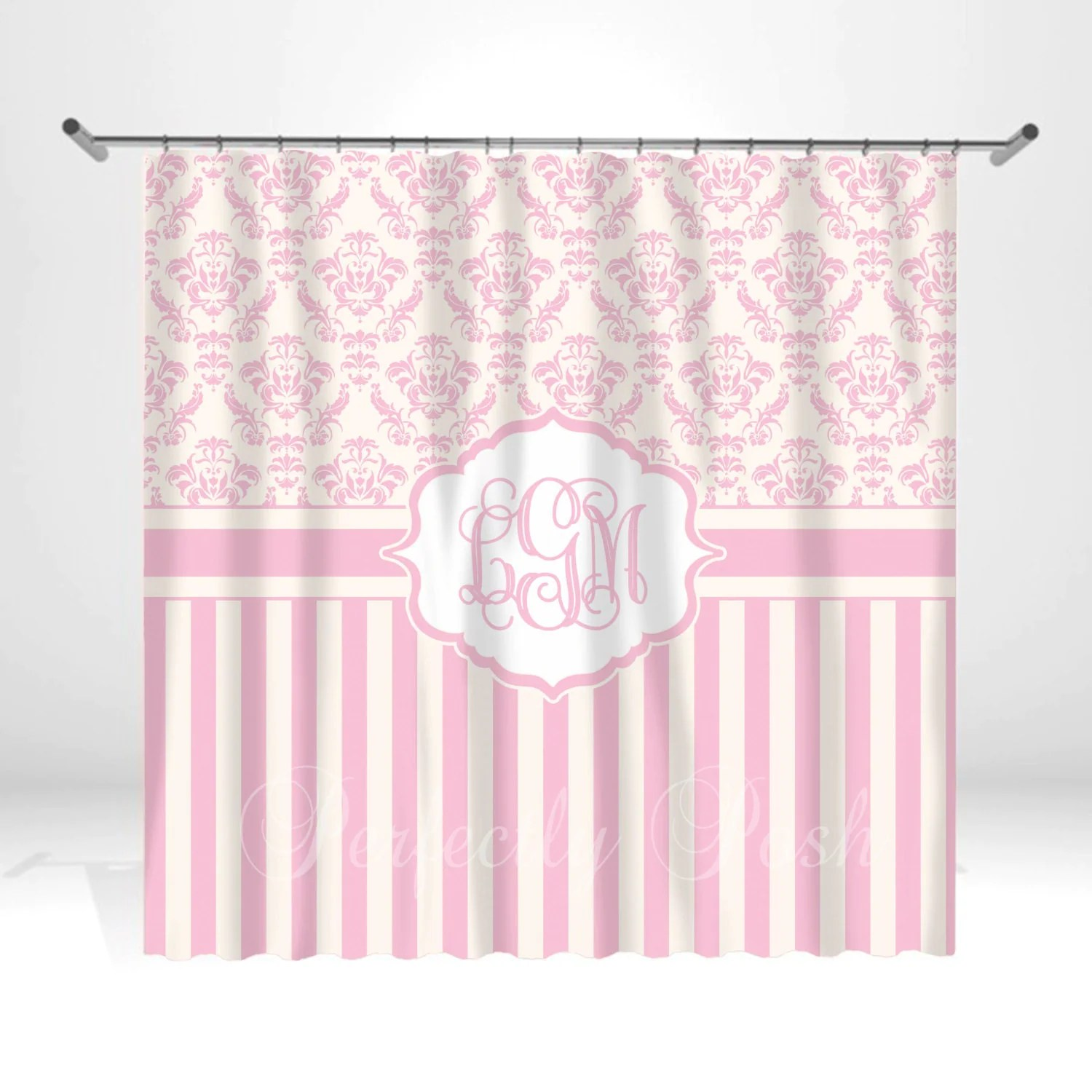 Pink Personalized Custom Shower Curtain Monogram with Name or
