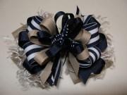 hair bow nautical navy blue khaki