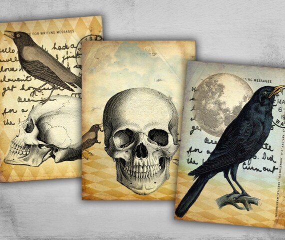 Items Similar To Halloween Greeting Cards Gift Tags Scary