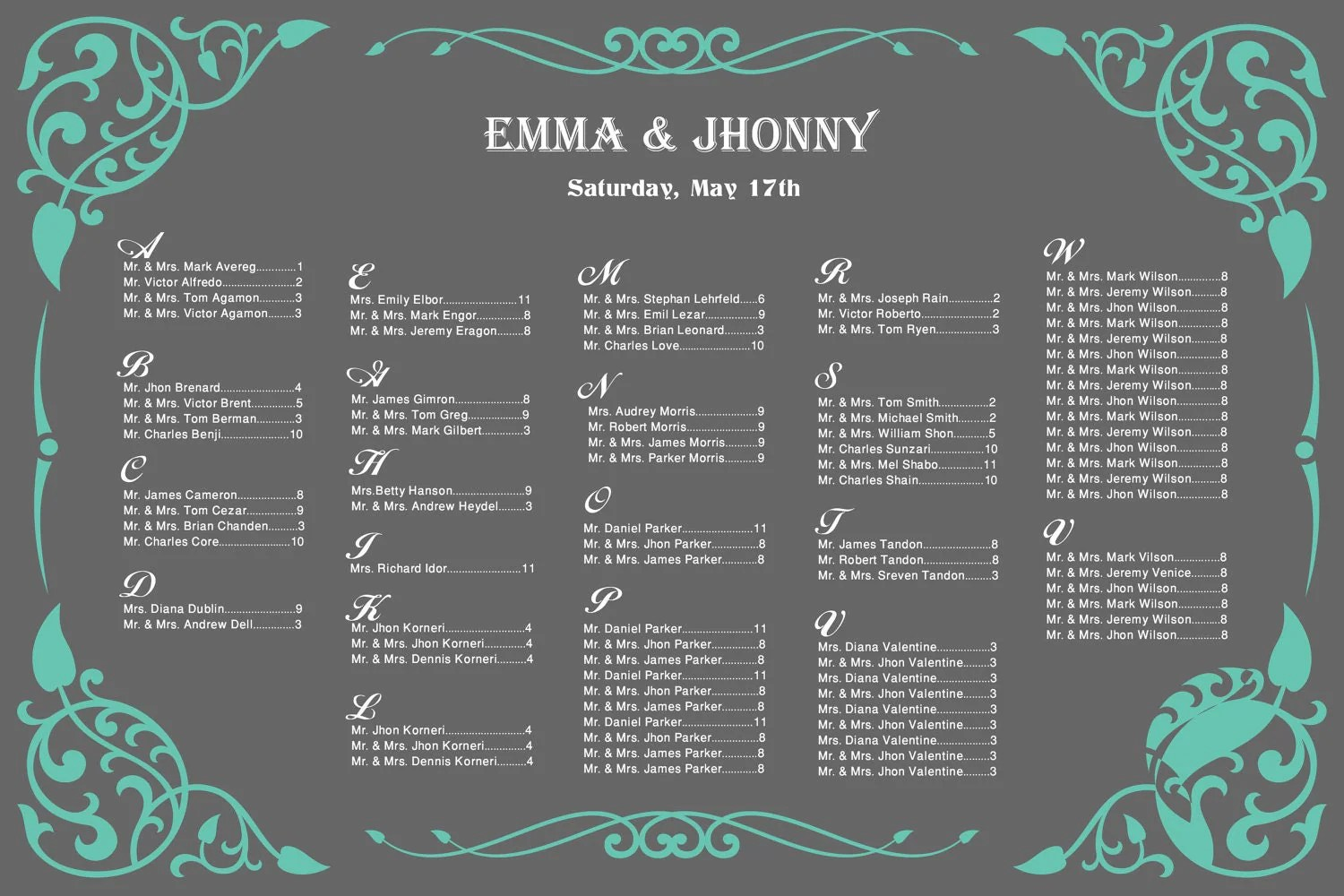 Wedding Seating Chart Vintage For Your Reception