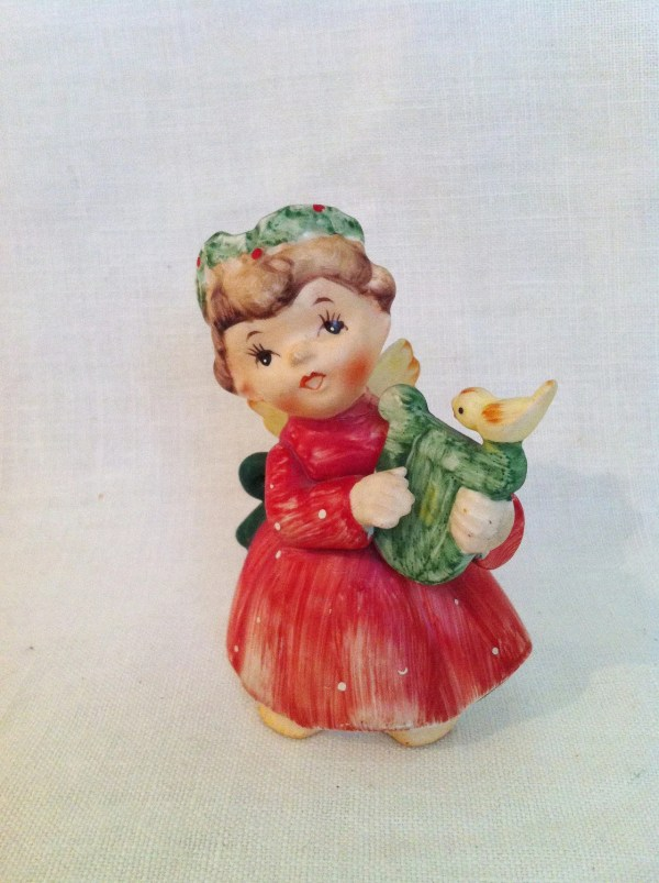 Vintage Lefton Christmas Angel Figurine With Lyre Bird 1960s