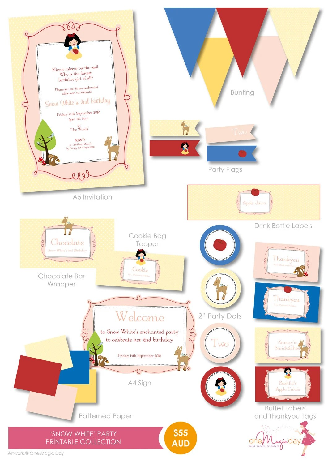 Snow White Party Printable Collection By Onemagicdayprintable