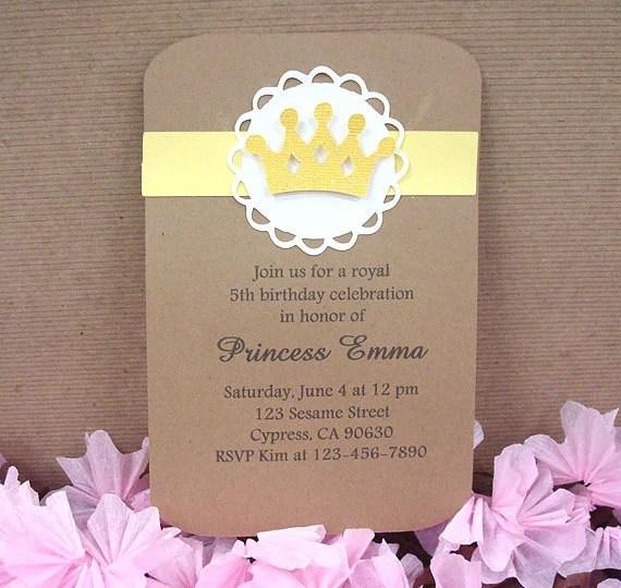 Handmade Yellow Royal Birthday Crown Invitation