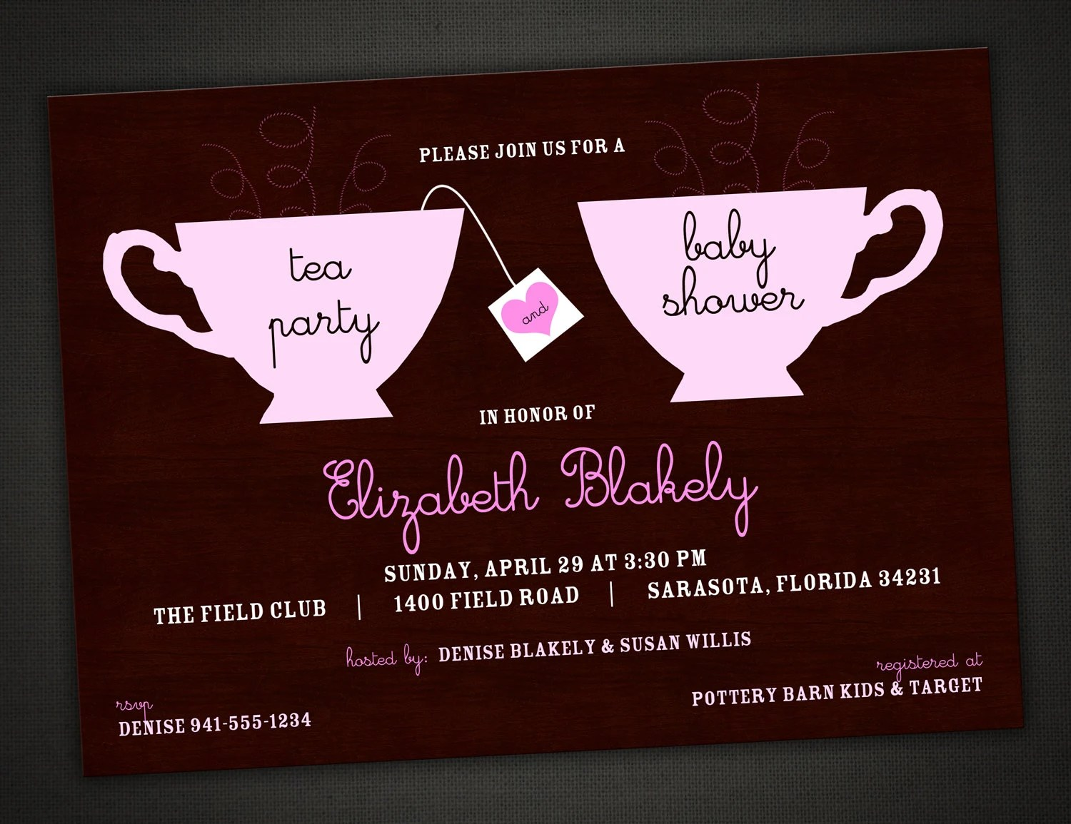 Tea Party Baby Shower Invitations