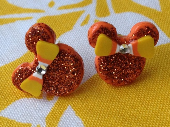 Halloween Orange Sparkle Candy Corn Bow Minnie Mouse Disney Polymer Clay Stud Earrings - TheDoctorsOrders