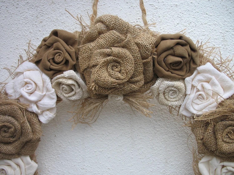 Burlap Rose Wreath For The Door Burlap Wedding Decoration