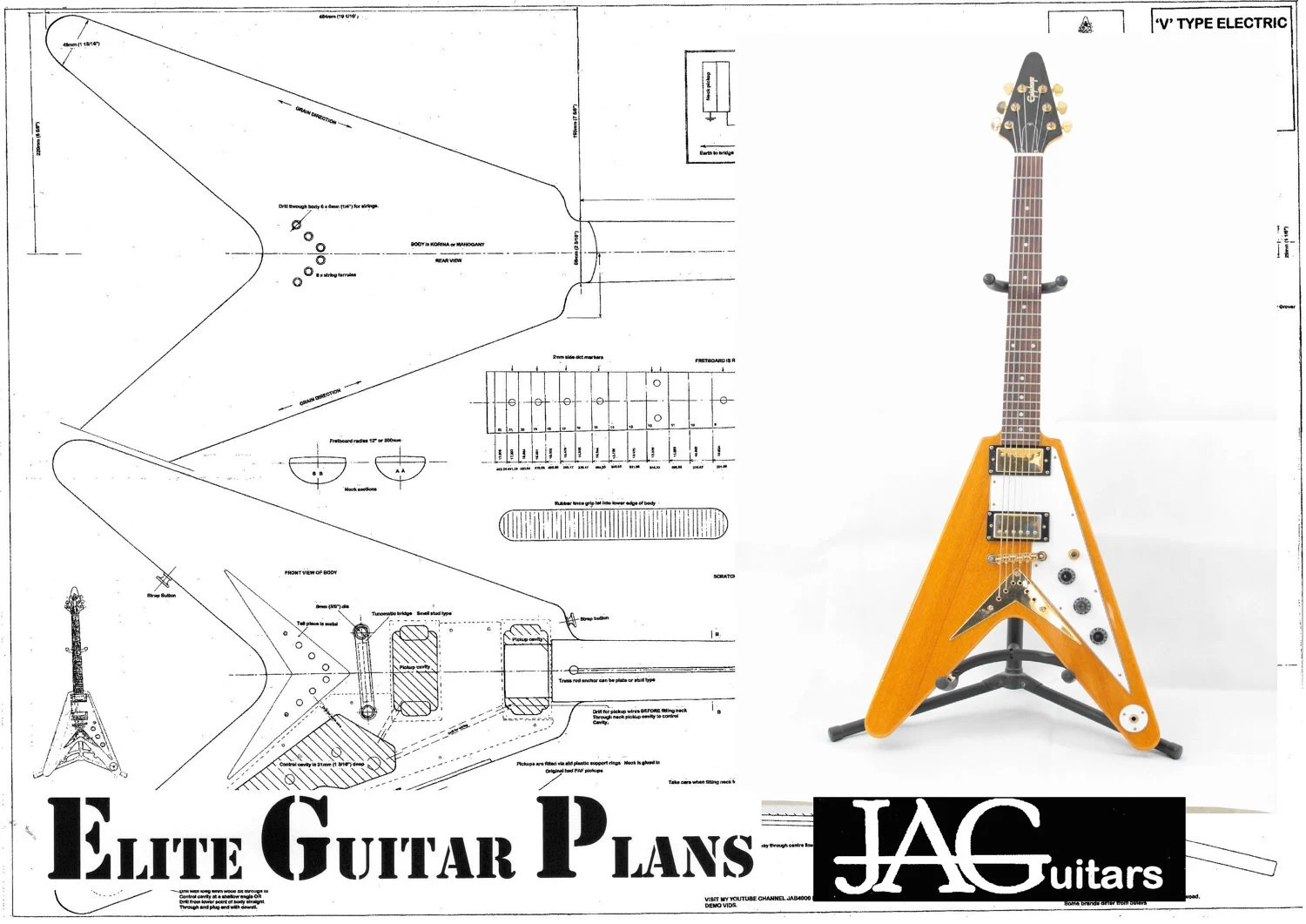 Plans to build this 58 Flying V type guitar by