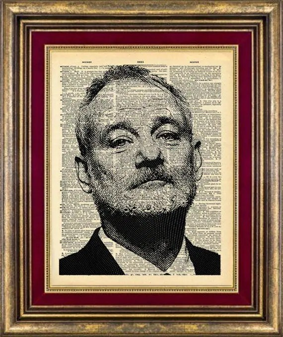 Bill Murray Print Dictionary Page Original Unique giftt book page art print up cycled