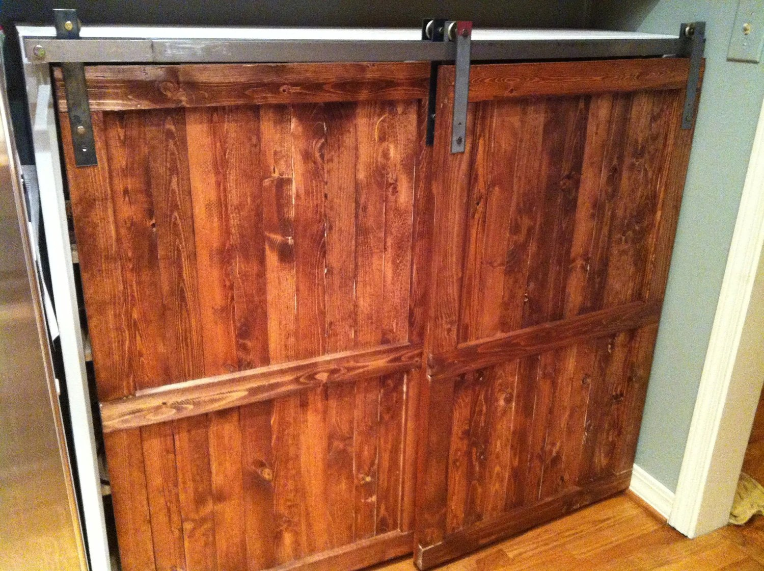 Items Similar To Barn Door Distressed Wood Cabinet
