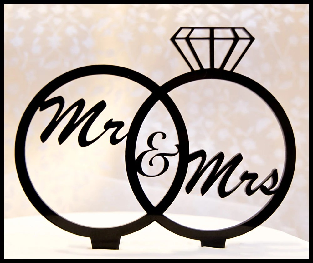 Wedding Cake Topper Mr and Mrs in Wedding Rings diamond ring
