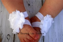 White Baby Barefoot Sandals Newborn Shoes