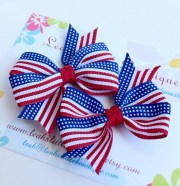 patriotic hair bow set red white