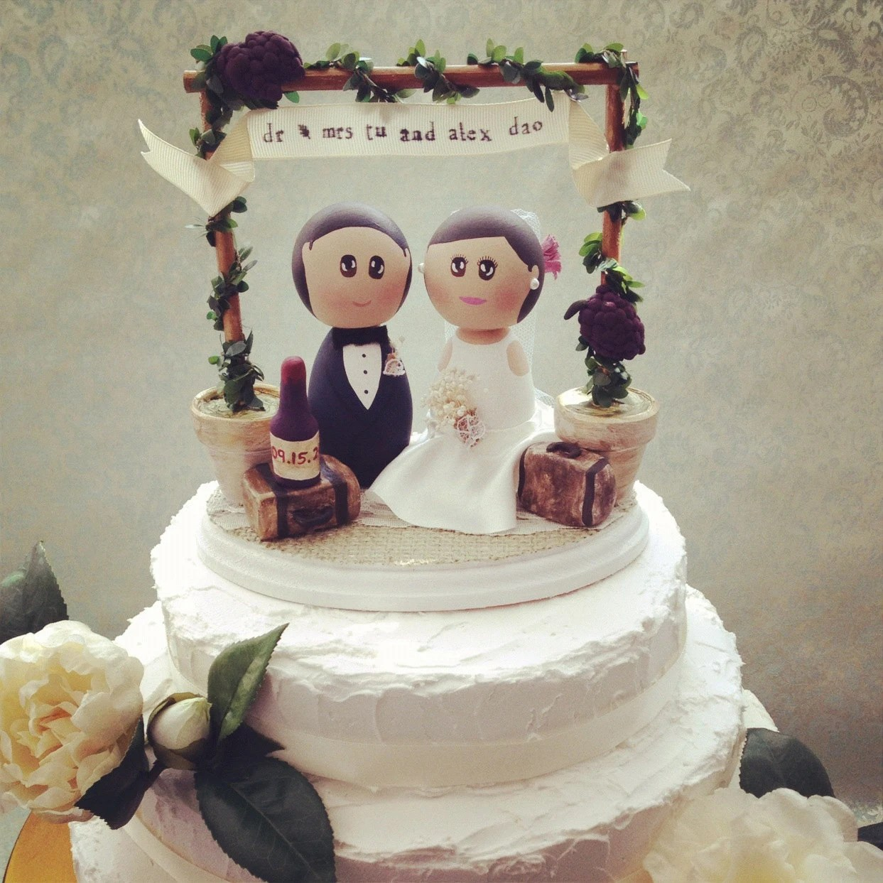 Custom Rustic Vintage Winery Wedding Cake Topper Base with