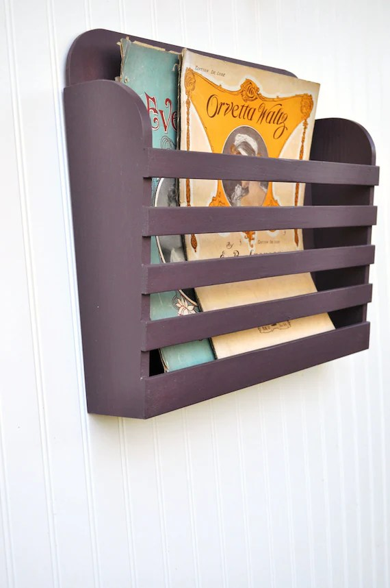 Rustic Hanging Magazine File Holder Solid Plum by