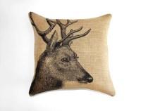 Deer Pillow Burlap Pillow Cushion Rustic Decorative Throw