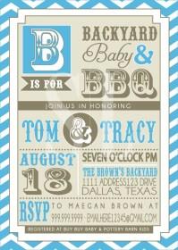 COUPLES bbq baby SHOWER invitation blue backyard BBQ
