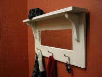 Entry Mirror with Hooks and Shelf / Turguoise Coat Hanger With