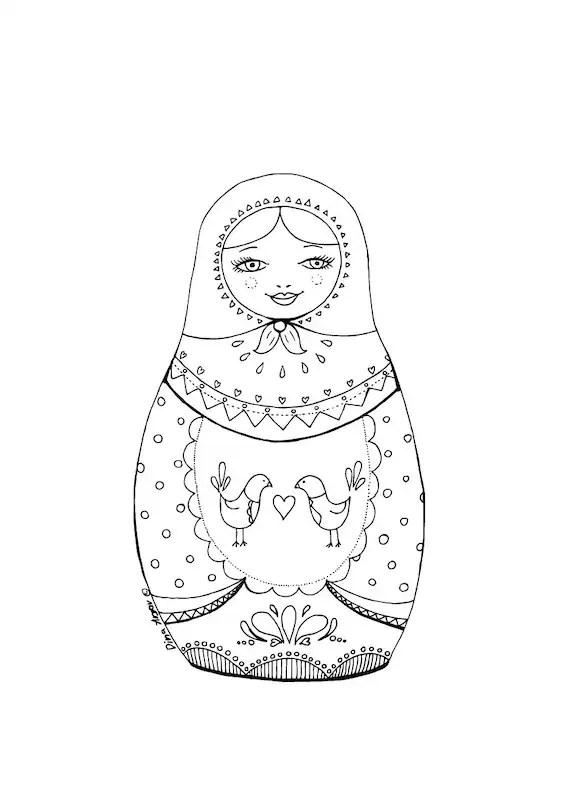 Printable coloring page PDF Matryoshka illustration folk art