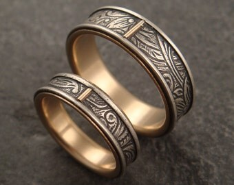 Wedding Ring Set  Commitment Rings  Sunflower Pattern