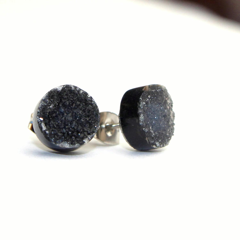 Black druzy earrings drusy quartz earrings by littlebugjewelry
