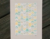 teal and yellow chevron silkscreen print. - exit343design