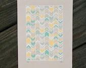 teal and yellow chevron silkscreen print. - exit343design