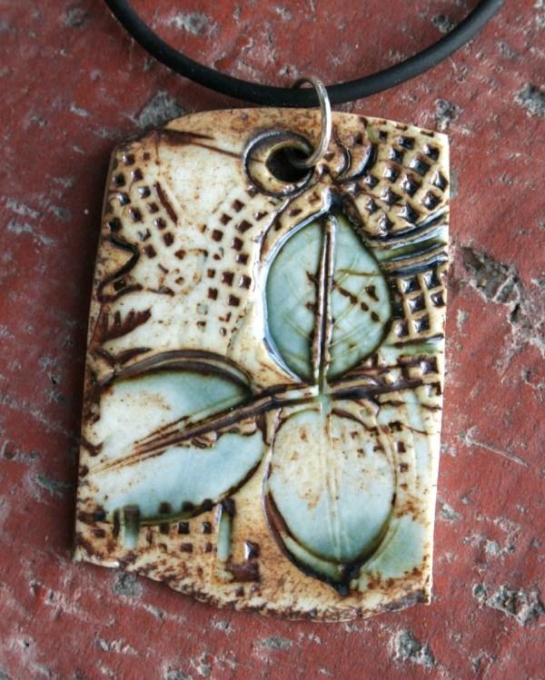 Textured Teal Leaves Porcelain Pendant