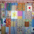 Patchwork cottage garden shower curtain by starryhomecrafts