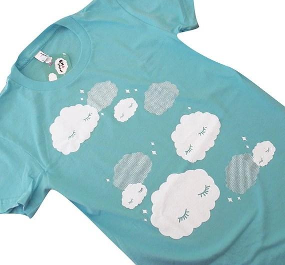 Cloud T-Shirt - Sleepy Clouds AQUA Shirt - Ladies Size XL - emandsprout