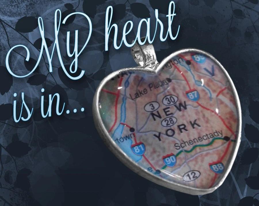 New York Heart Map Pendant