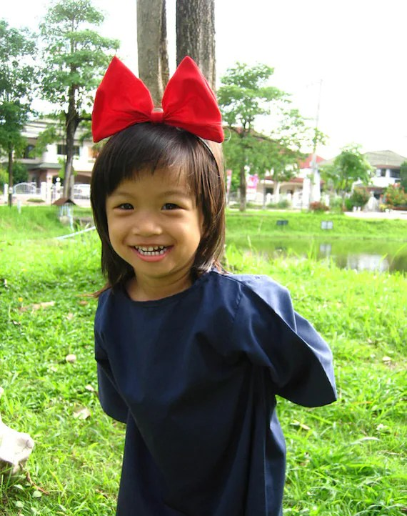 Kikis Delivery Service Cosplay Kid Dress With Red Hair