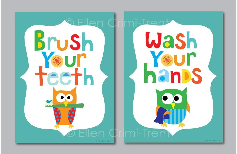 Kids Bathroom Decor Kids Bathroom Art Bathroom Manners Owl