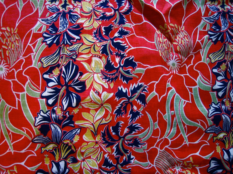 40s Vintage HAWAIIAN Fabric Tropical BORDER PRINT 1940s 1950s