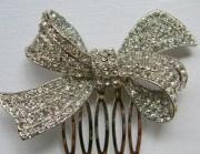 rhinestone bow hair comb crystal