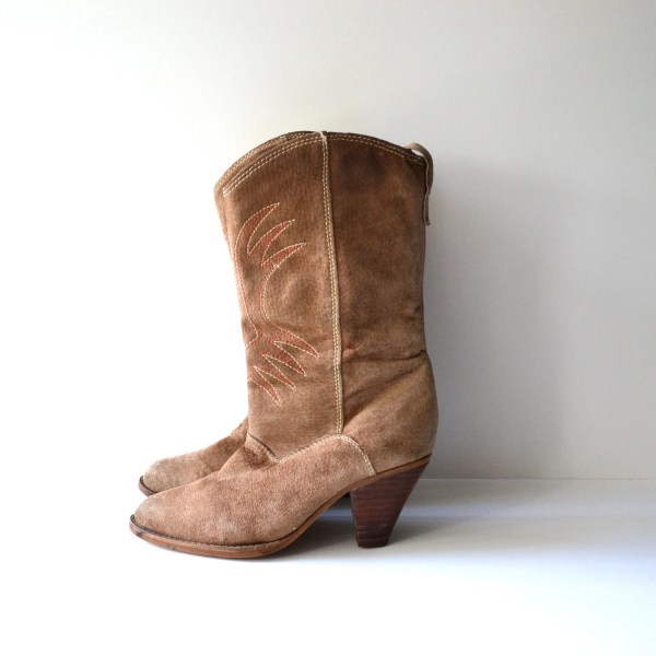 Vintage Tan Suede Cowboy Boots High Heel Western Boot Size