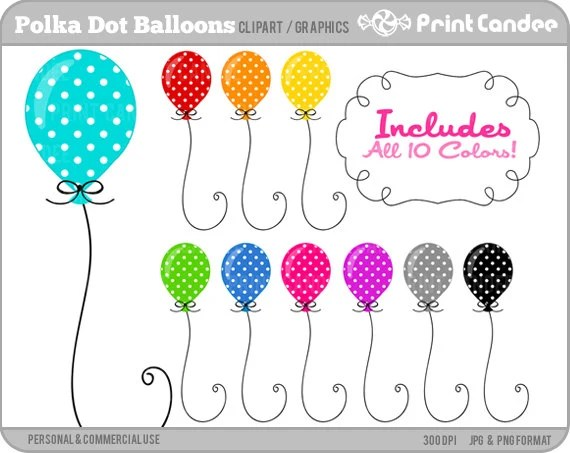polka dot balloons digital clip