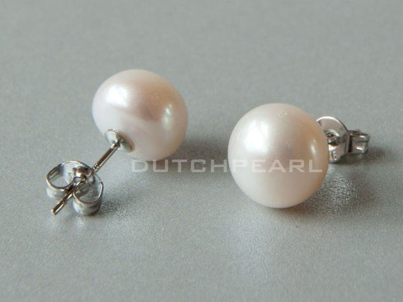 4 pairs Big 10mm real pearl earrings studs freshwater