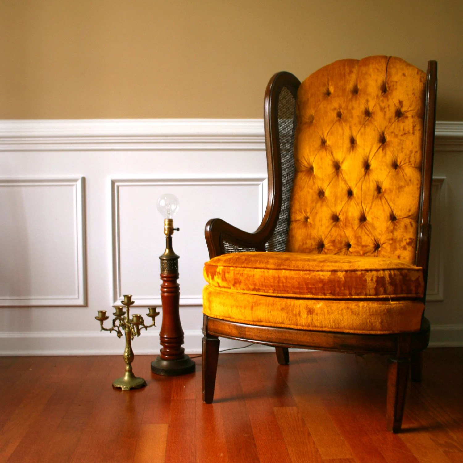 Autumn Gold Mid Century Chair High Back Lewittes Wingback