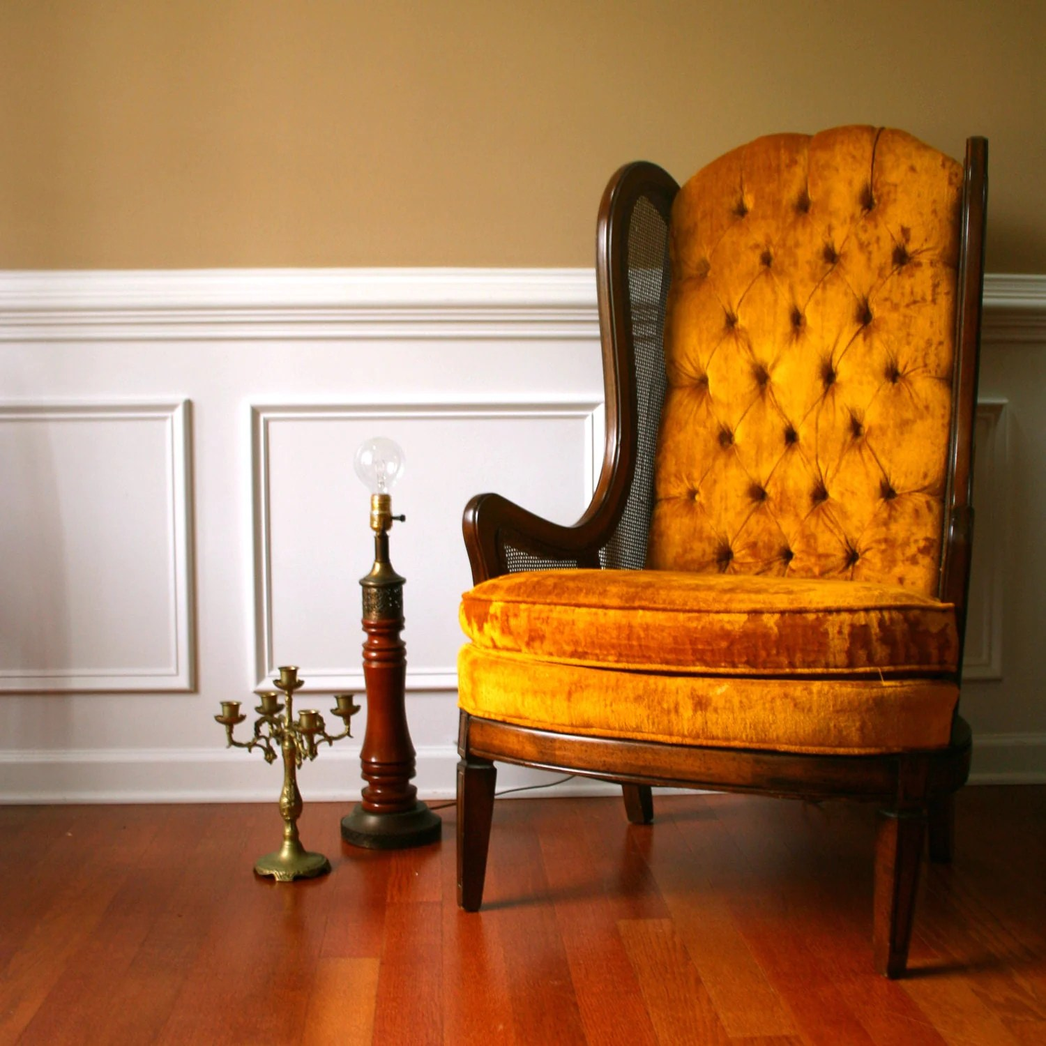Gold Velvet Chair Autumn Gold Mid Century Chair High Back Lewittes Wingback