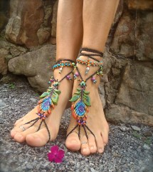 Black Peacock Barefoot Sandals Feather Sole