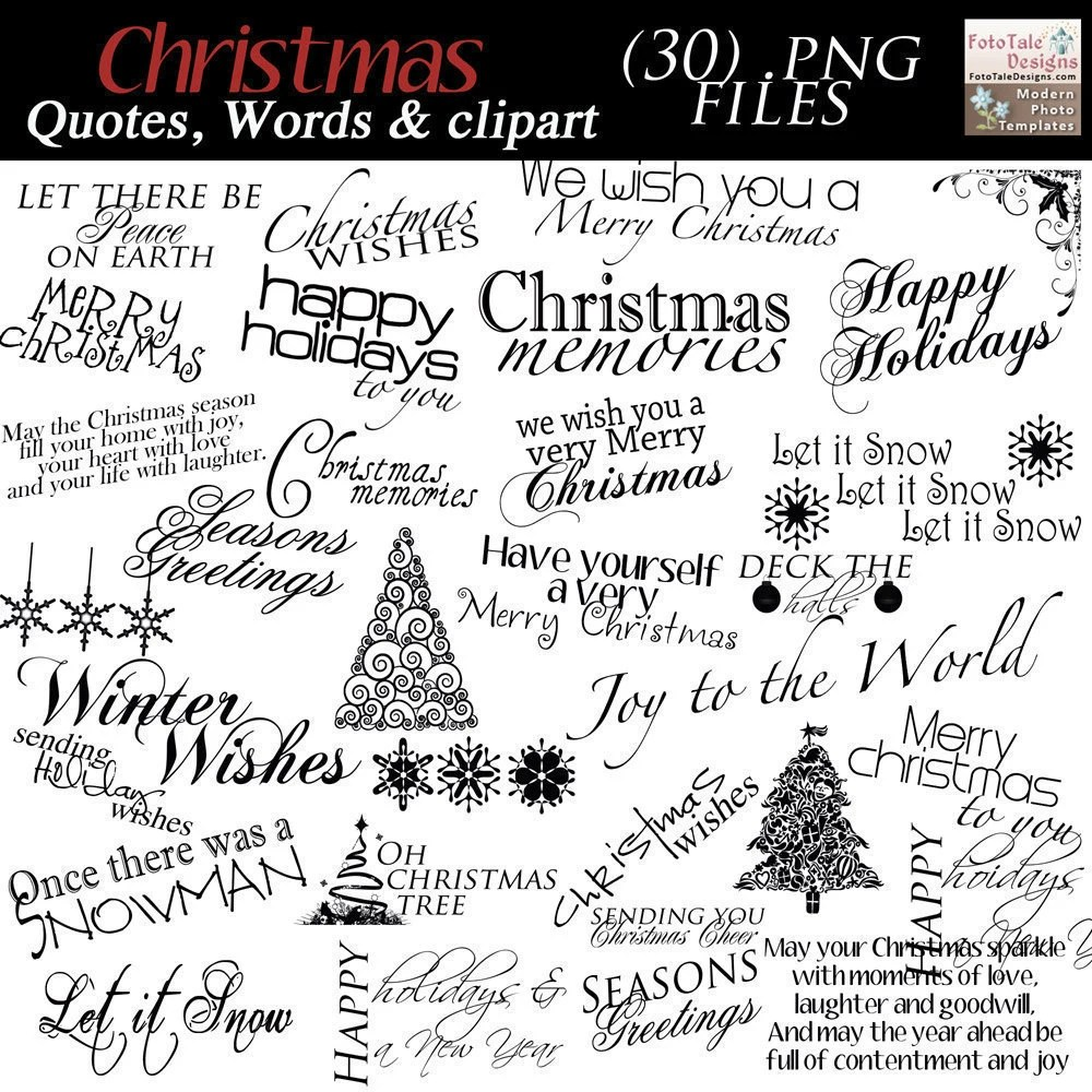 INSTANT DOWNLOAD Christmas Word Art Collection 30 Quotes
