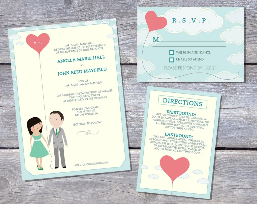 Wedding Invitation Suite Custom Cartoon printable design