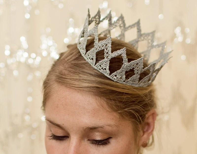 Silver Princess Fairytale Lace Crown - neesiedesigns