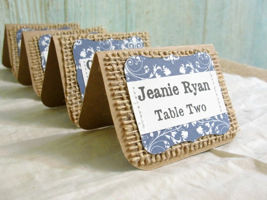 Items Similar To Unique DAMASK Rustic Escort Place Cards
