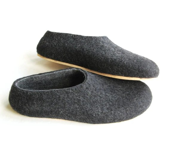 boiled wool shoes mens felted slippers house shoes for men