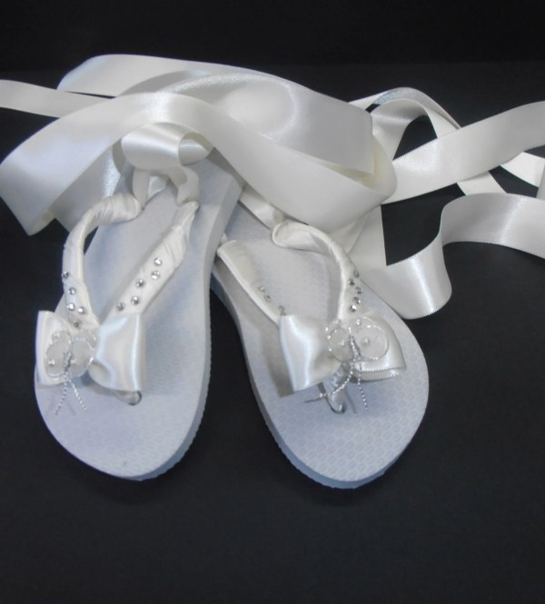 Flower Girl Flip Flops With Satin Ballet Ties Chrystal And Bow