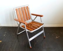 Vintage Aluminum And Teak Lawn Chair . Mcm Mid Century