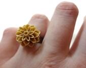 Light Brown Chrysanthemum Flower Bronze Adjustable Ring - Glamour365